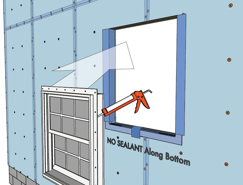6. Apply sealant / install window Apply sealant to backside of window flange if required by window manufacturer Tip: 3/8 bead must cover the