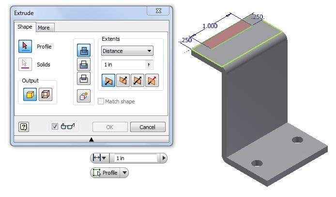 32 Add a Dimension Before we extrude the sketch, we need to right click on the graphical display and on the menu; we choose the Finish 2D Sketch button. Figure 5.