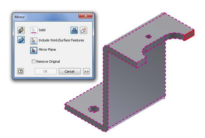 Mirror a Solid The next function we will learn to draw in Inventor is mirror.