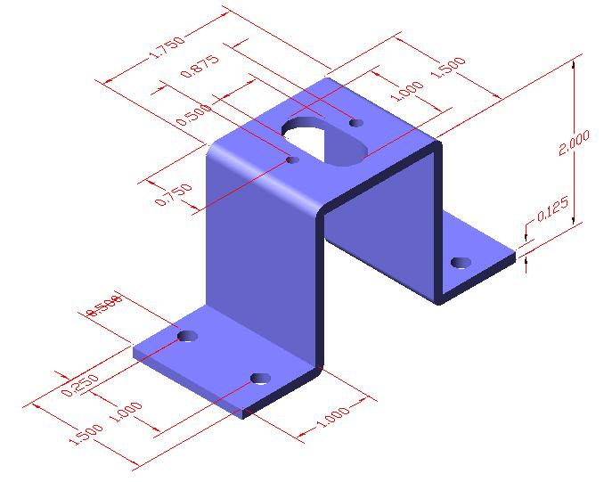 Sketch of Solid Part Four Again we start any project by making a sketch, so we can efficiently produce a drawing. In part 4, we see a sketch of another bracket.