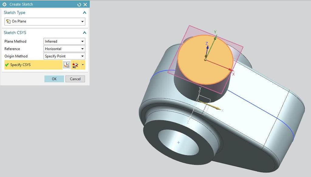 Click the Edge Blend button and select the side of the upper cylinder. Set the fillet radius to 1 mm. Confirm.