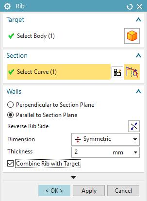 Get out of sketch mode and click the Rib button located under Menu Insert Design Feature. In the Rib dialog box set as Target the body you have so far.