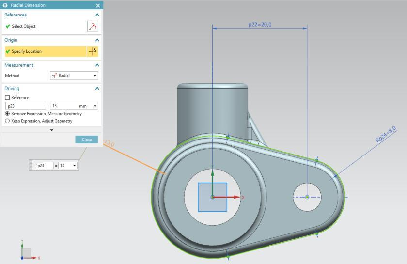 The program automatically calculates the changes to make. The geometry is updated and reflects your changes. 15 - Adding a material to the part.