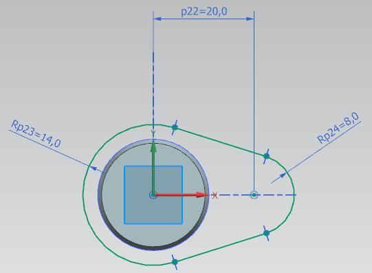 the two arc centers and impose a length of 20 mm. Finally, impose the arc radii.