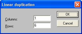 Click on the Linear Duplication tool in the fly-out toolbar (Figure 7-13) A dialog box will open, and we ll enter the numbers 1 for Columns and 6 for Rows and then click OK (Figure 7-14).