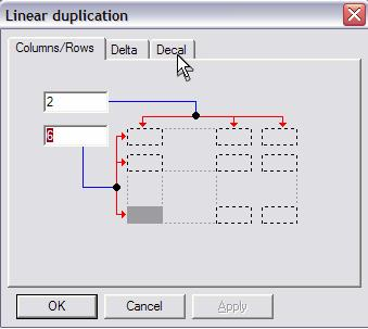 Figure 7-14 Linear Duplication Dialog B Figure 7-15 Linear Duplication F2 Dialog Box, Tab 3 Click on the right-most tab (Decal = Repeat).