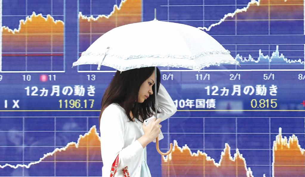 16, with export shares boosted by a weakening yen.