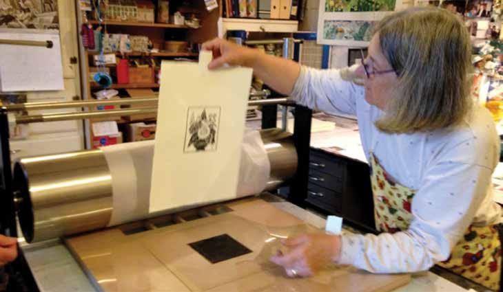The esteemed artist and printmaker Janet Ayliffe was approached with a view to reproducing the work and Julie Maitland and Rosemary McDonald provided the workforce under Janet s gentle instruction to