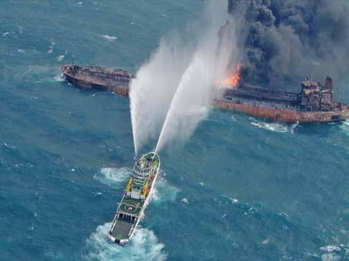 Monday, January 15, 2018 19 Burning oil tanker sinks after accident Beijing An Iranian oil tanker has sunk after burning for more than a week following a collision on Jan.