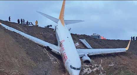 2 Monday, January 15, 2018 Plane skids off runway A passenger plane skidded off the runway at Trabzon Airport in Turkey Emergency service crews at the scene Trucks try to pull back the stuck aircraft
