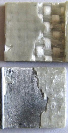 Figure 10: Fracture schemes on double butt lap joint surfaces. composite substrate.