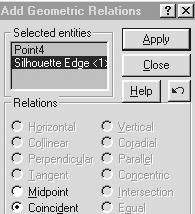 43) Add geometric relations. Click Add Relations. Click the arc center point. Click the horizontal line (silhouette edge) of the Base-Revolve feature. Click the Coincident button. Click Apply.