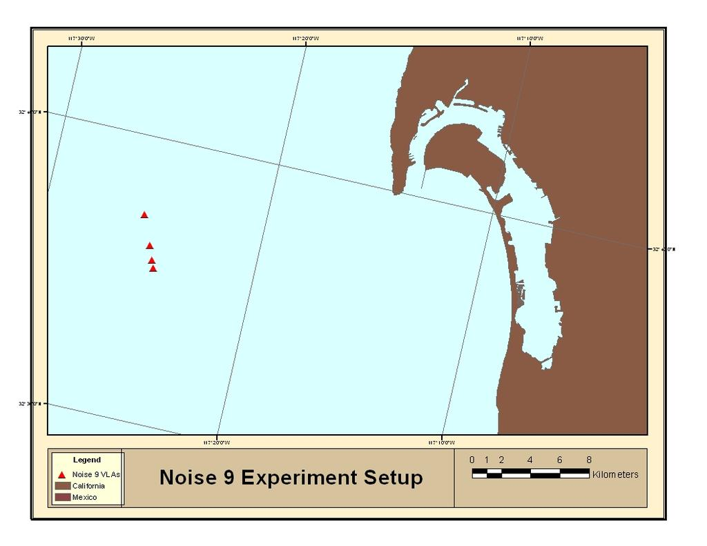 30 Figure 3.7: Noise 09 Sensor Positions of the region surrounding the arrays. The seafloor is also well-studied and has been characterized sufficiently for modeling purposes here.