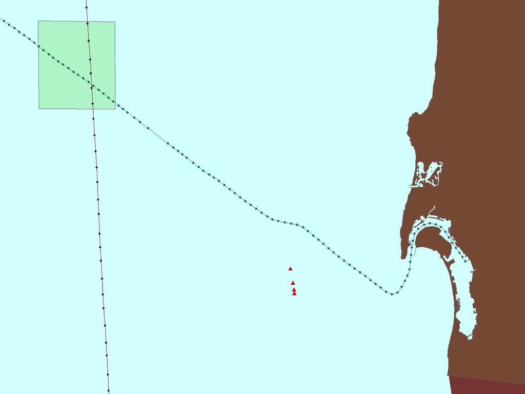 58 Figure 5.1: Ship tracks for library and event ship. The library ship is shown in red, and the event ship is green. The array positions are shown as red triangles.