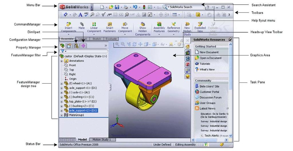 1 Introduction This lab is designed to provide you with basic skills when using the 3D modeling program SolidWorks. You will learn how to build parts, assemblies and drawings.