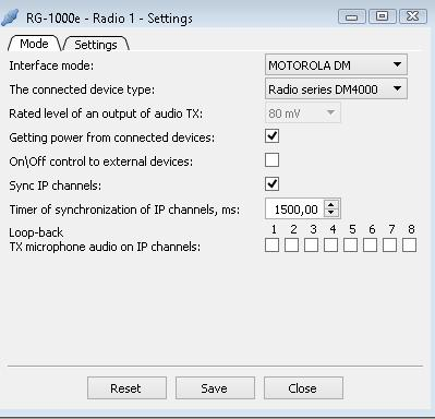 1. RG-1000e Customer Programming Software (RG-1000e CPS) 20 Motorola DM mode If you select the Motorola DM mode in the Interface mode box, two tabs appear in the top part of the window: the Mode tab