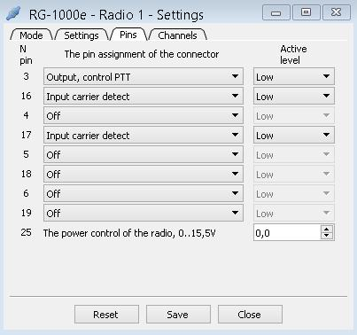 1. RG-1000e Customer Programming Software (RG-1000e CPS) The Pins tab provides controls for configuring the Radio 1(2) pin settings.