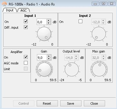1. RG-1000e Customer Programming Software (RG-1000e CPS) 31 Audio RX The Audio RX provides controls for setting up the RG-1000e GATEWAY analog inputs.
