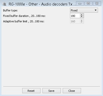 1. RG-1000e Customer Programming Software (RG-1000e CPS) 39 Audio decoder TX The Audio decoders TX window provide controls for setting up the operation mode and the buffer size of the audio decoder