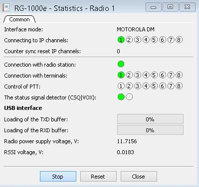 1. RG-1000e Customer Programming Software (RG-1000e CPS) 44 Radio The Radio window provides statistic reports on the interface operation mode, connected IP channels and other operational data.