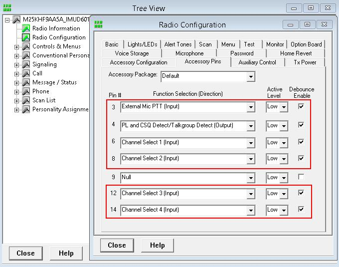 2. Radio settings Pin #6 - Channel Select 1. Active level - Low. Pin #8 - Channel Select 2.