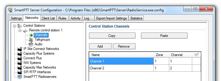 3. SmartPTT Radioserver settings 79 The Control Station Channels window contains the Channels table with the following columns: Name: Name of the channel that is displayed in SmartPTT Dispatcher.