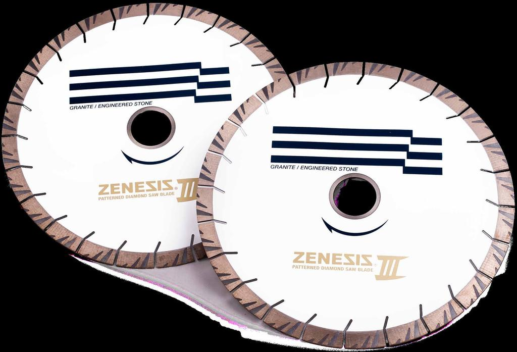 6 Products - Cutting ZENESIS III Bridge Saw Blades 20mm The ZENESIS III continues to revolutionize the stone fabricating industry, offering high performance and great value.