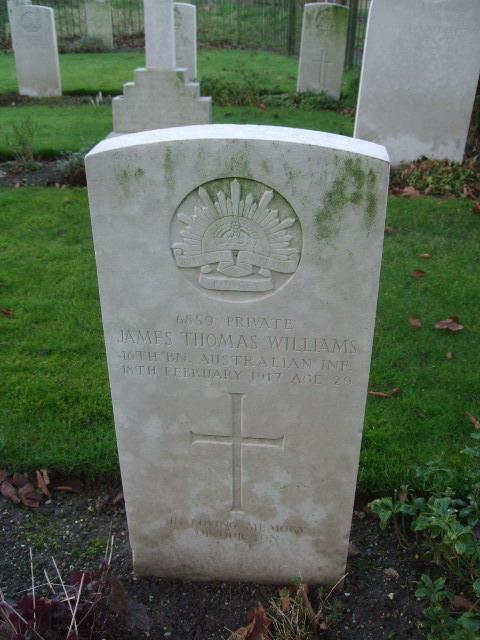 Photo of Pte James Thomas Williams Headstone at Codford Anzac War