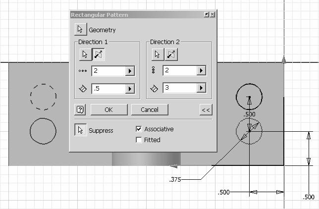 Autodesk Inventor R10 Fundamentals Rectangular Pattern This rectangular pattern tool only works in sketch mode.