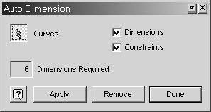 Autodesk Inventor R10 Fundamentals 4. A dialog appears indicating how many dimensions are required to fully constrain the sketch. Press the Apply button. 5. The dimensions appear as shown.