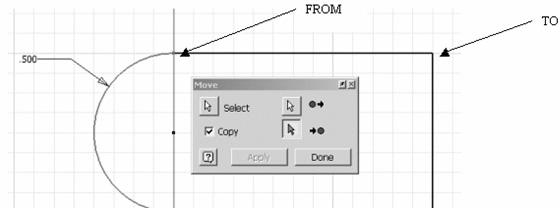 Sketch Tools 4. Press the Select button and select the arc. 5. Enable the Copy button. The arc will highlight to indicate it has been selected.
