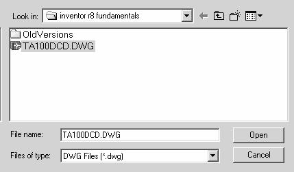 Autodesk Inventor R10 Fundamentals 1. Start a new file using Standard units. 2. Select the Insert AutoCAD file tool.