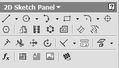 Autodesk Inventor R10 Fundamentals Lesson 6 2D Sketch Panel Tools Inventor s Sketch Tool Bar contains tools for creating the basic geometry to create features and parts.