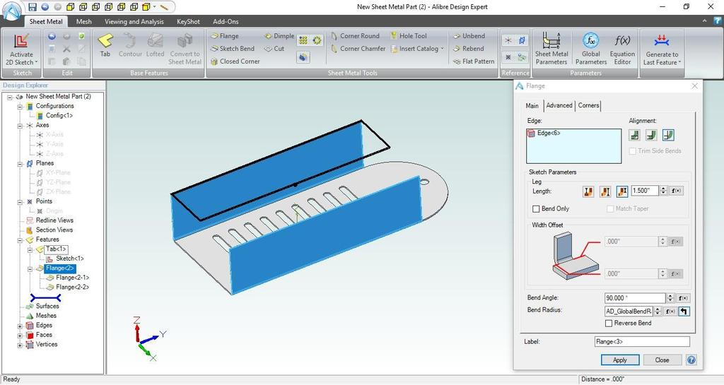 3 2 1. Click on Flange in Sheet Metal Tools section in the ribbon. 2. Click on the Edge box in the dialog.