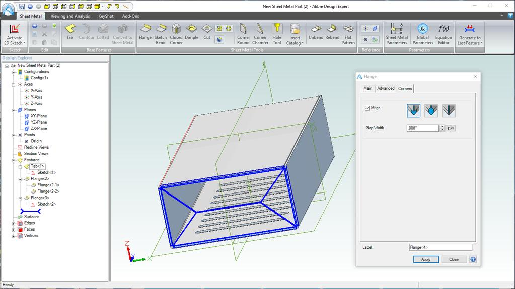 2 4 3 5 1. Click on the Corners tab in the Flange dialog box. 2. Click on the checkbox and Enable the Miter. 3. Select Corner Relief under Miter in the Corners tab of Flange dialog box.