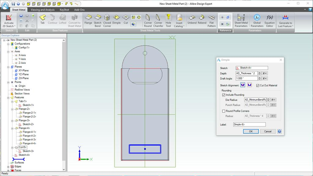 2 3 4 5 1. Click on the Dimple tool in Sheet Metal Tools section in the Ribbon. 2.