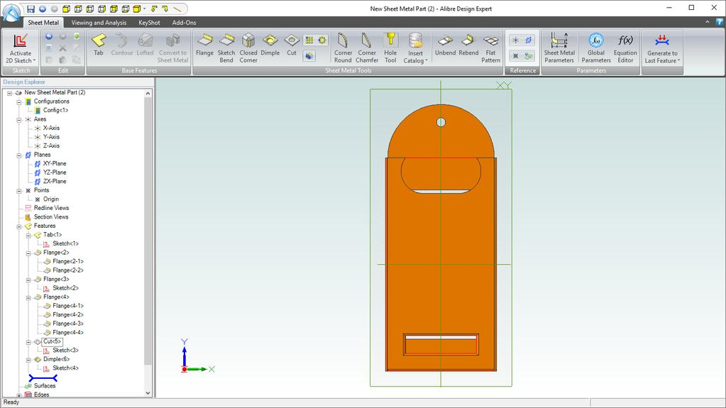 . Click Flat Pattern again to return the sheet metal part to its closed state. 2.