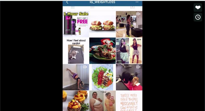 Let us say, IG_weightloss, so this Instagram profile has 1.2 million followers, you can read a little bit about them; daily tips to help you get into shape, healthy recipes, exercise tips, motivation.