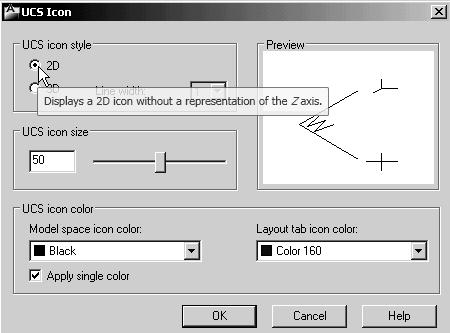 Geometric Construction Basics 1-15 Changing to the 2D UCS Icon Display In AutoCAD LT 2012, the UCS icon is