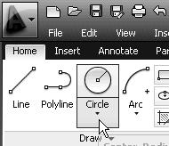 In the option list, select: [Center, Diameter] Notice the different options available under the circle submenu: Center, Radius: Draws a circle based on a center point and a radius.