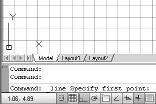 Geometric Construction Basics 1-7 Drawing Lines with the Line Command 1. Move the graphics cursor to the first icon in the 2D Draw and Modify panel. This icon is the Line icon.