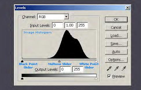 Photoshop adjustments The basic settings are levels and curves First check the levels The levels tool can move and stretch brightness levels in a histogram using three main components: a black point,