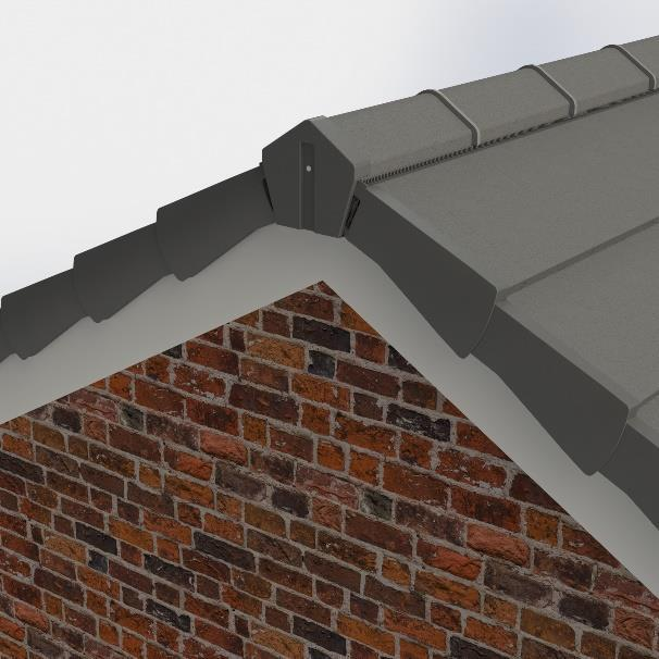 6) Start/terminate the ridge with a block end ridge tile or plastic ridge cap to cover the top of the verge units.
