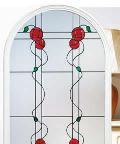 TIMOR Decorative triple glazing featuring coloured bevels on etch-effect