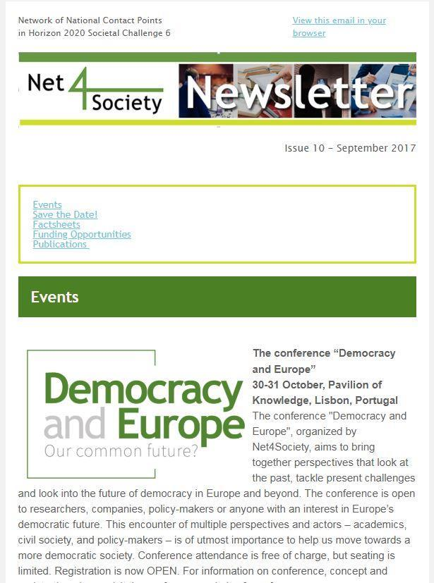 "Net4Society - Newsletter Net4Society publishes a e-newsletter for the SSH research community and the online magazine ""ISSUES""."