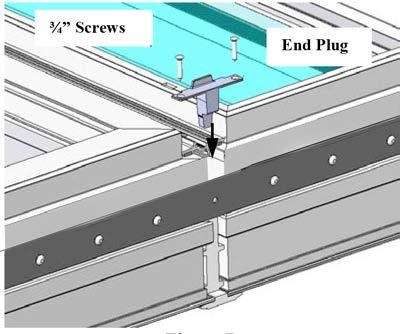 Caulk all joints between the end cap and mull across the entire width as shown in (Figure 18).
