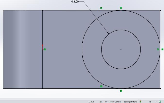 Draw Center line angled at 45 degree with infinite length through the common center points of the circles by establishing the