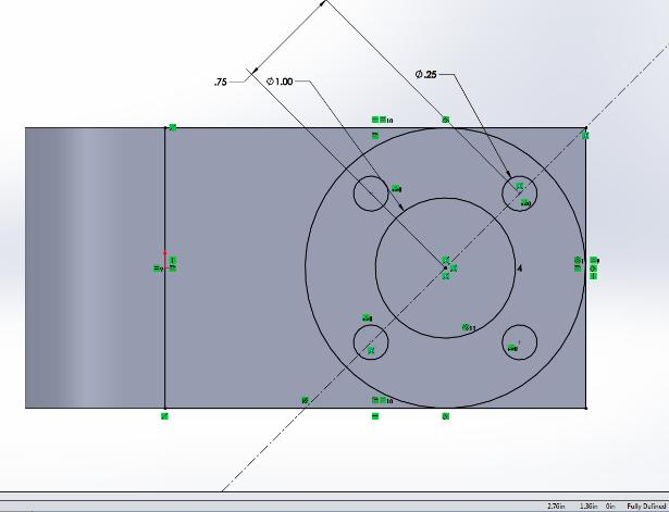 9. Select Linear Pattern / Center Pattern and click on the circle just created.