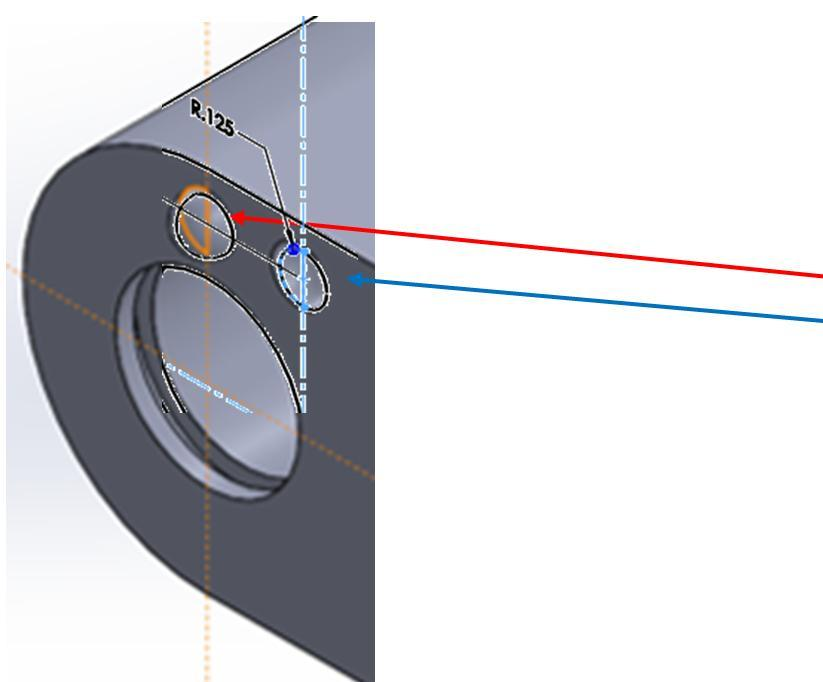 center lines axes as shown and revolve around about axis and MIRROR to produce feature on both sides of object: 1.
