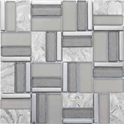7 INFO MOSAIC ariston white marble polished silver aluminum brushed white matte glass